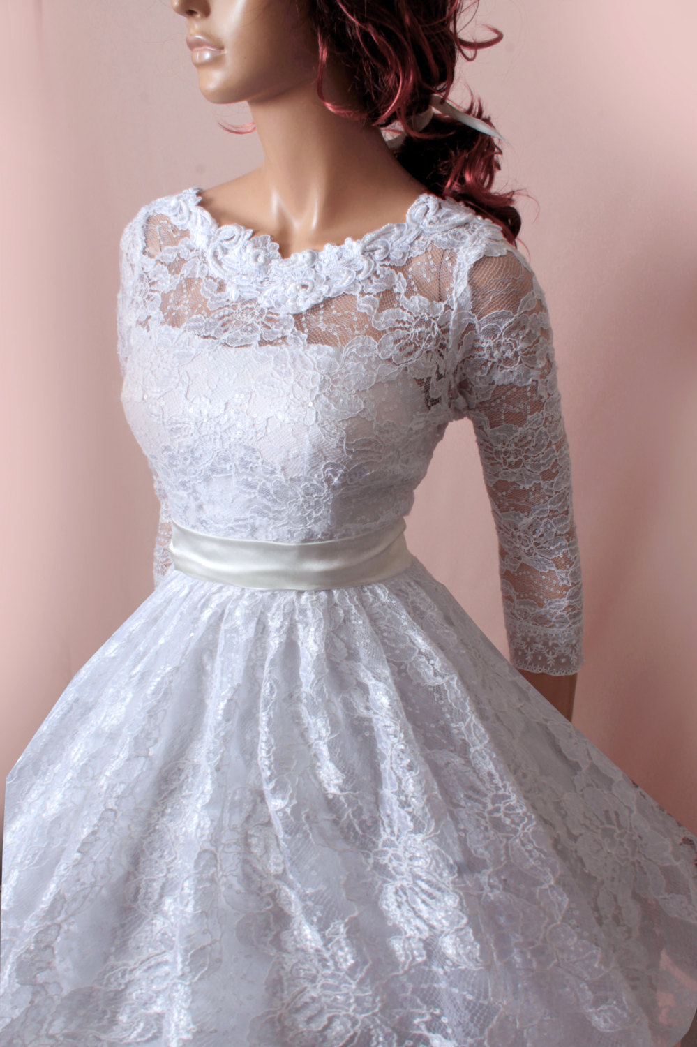 Wedding Dresses 3 4 Sleeves Lace : Lace dresses sleeves bridal gown plus size wedding