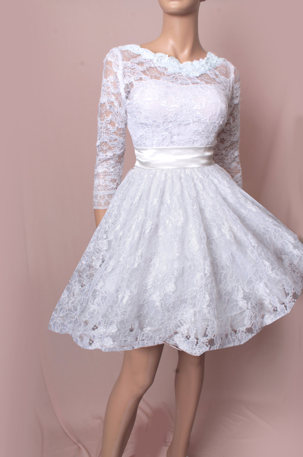 Wedding Dresses 3 4 Sleeves Lace : Short lace dress sleeves bridal gown wedding