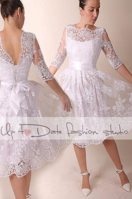 Lace short Wedding dress/ open back / Reception / Bridal Gown/3/4 sleeve