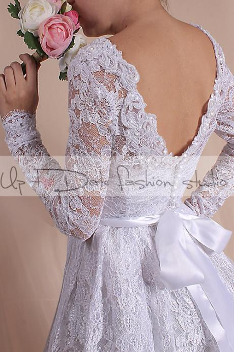 Lace short /Plus Size / reception dress/ wedding party dresses / Bridal Gown/Custom Made / 3/4 sleeve