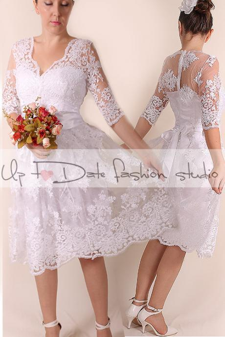 Lace short Wedding dress / V front /Recepion/knee length/ party dress/ Bridal Gown 3/4 sleeve