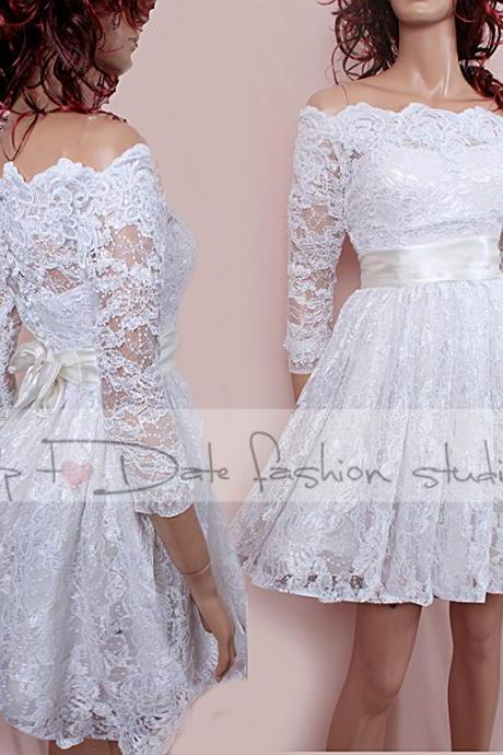 Lace short Plus Size/reception/ wedding dress /Off-Shoulder Custom Made/ ,3/4 Sleeves Bridal Gown