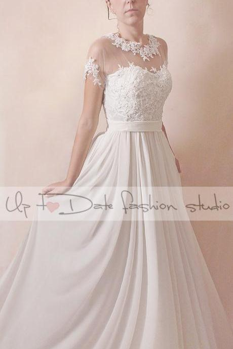 Wedding lace/floral applique with beading crystal dress/draped tulle A-line dress
