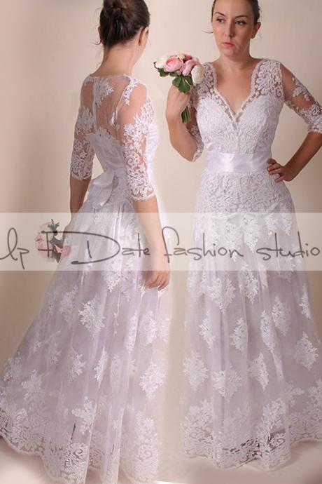 Lace Plus Size /V neck front//long/ mаxi wedding party/reception dress / Bridal Gown 3/4 sleeve