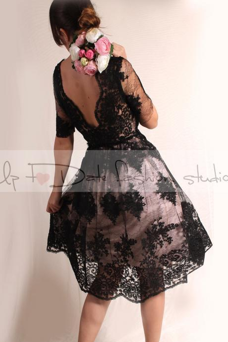Little black lace dress / Evening / Party / Cocktail / 3/4 Sleeves/romantic dress V back