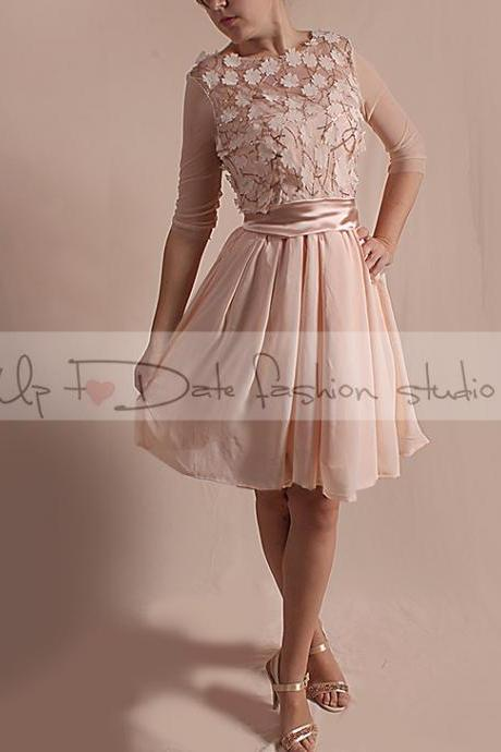 Short bridesmaid / romantic lace/3D Chiffon Flower Fabric whith Sequins /dress /3/4 tulle sleeves