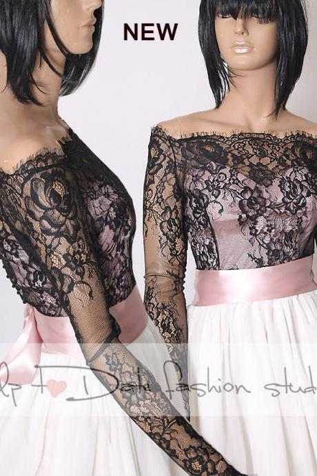 Plus size Off-Shoulder black wedding bolero/ French Chantilly Lace /bridal shrug /jacket long sleeve