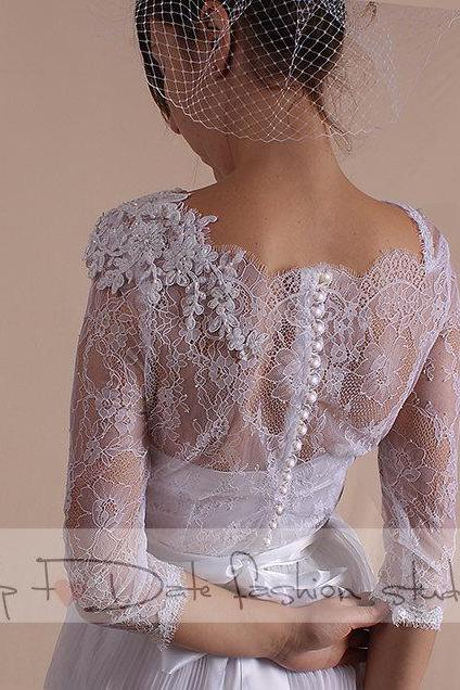 Wedding romantic dress/ with Sleeves/ Beaded lace applique/A line skirt