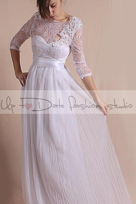 Plus Size Wedding dress/ 3/4 Sleeves/ with Sequins Flower Beaded Applique