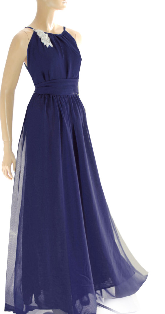 Maxi navy blue chiffon evening party cocktail for Navy blue maxi dress for wedding